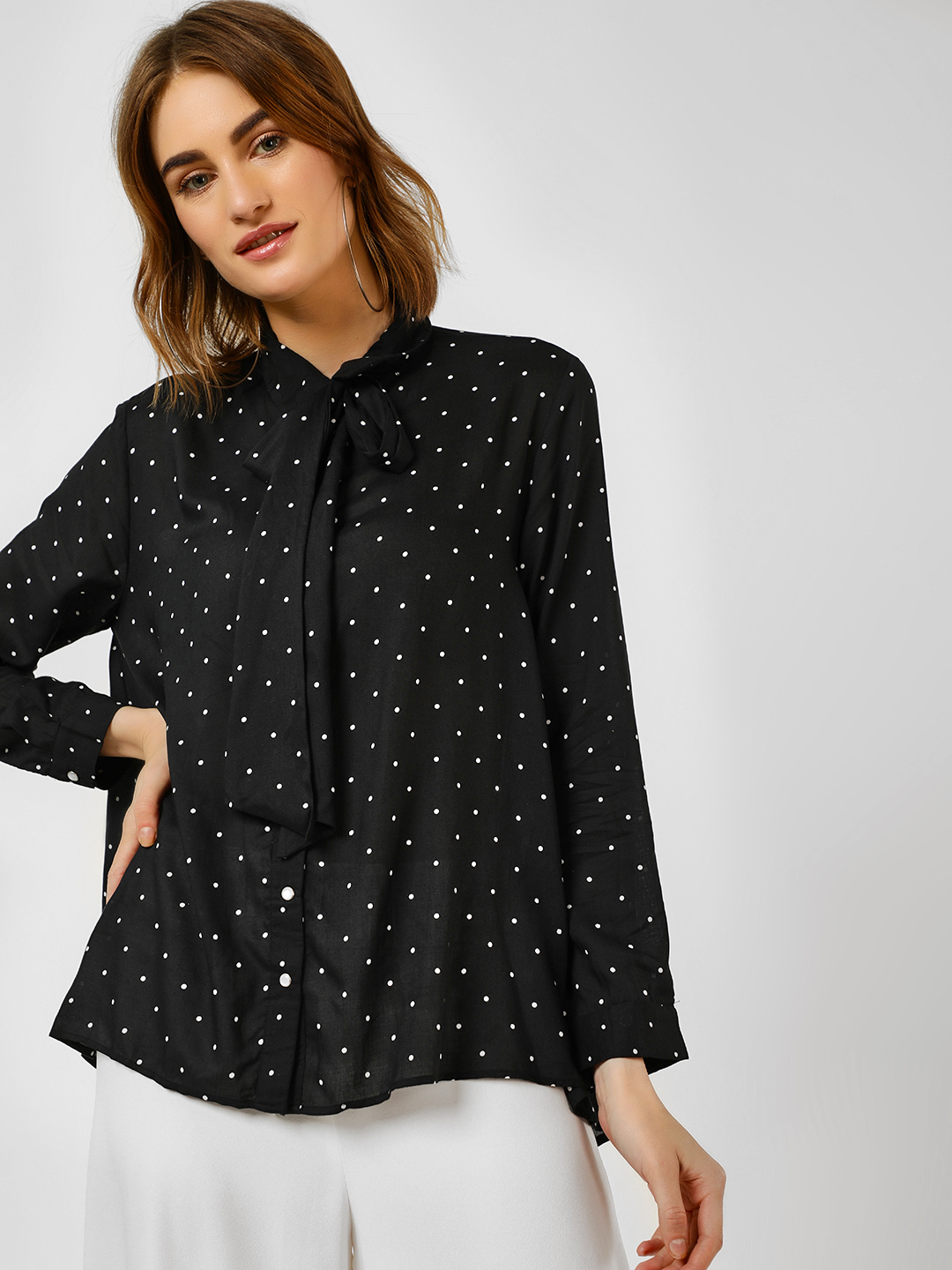 Cover Story Black Polka Dot Print Shirt 1