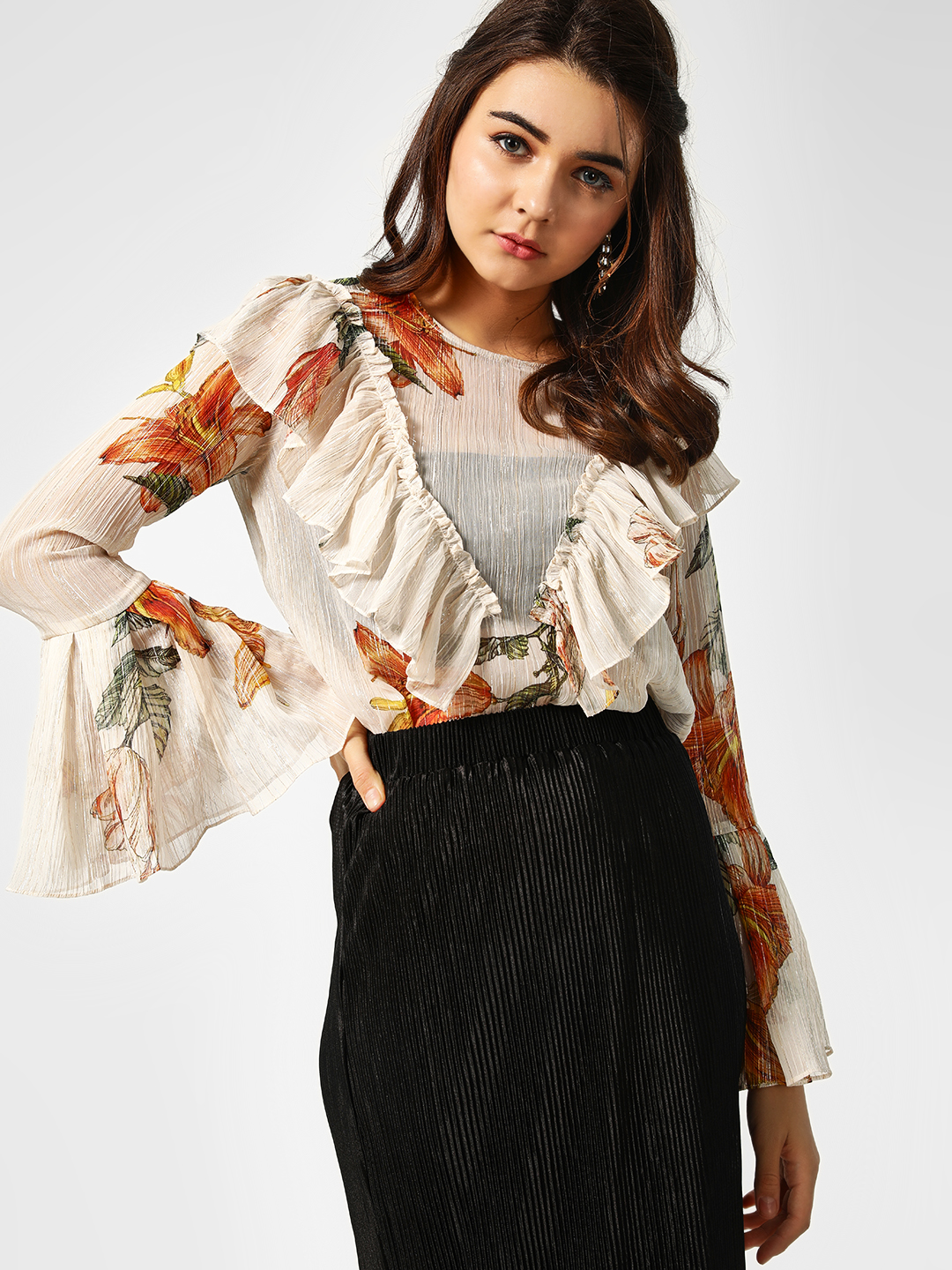 Cover Story Print Floral Print Ruffle Top 1