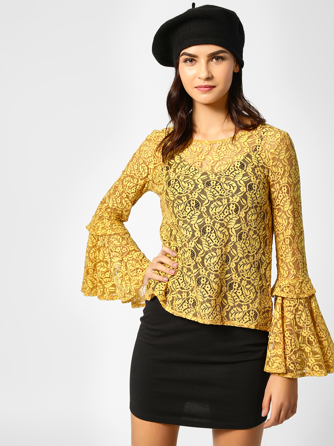 Cover Story Mustard Flared Sleeves Lace Blouse 1
