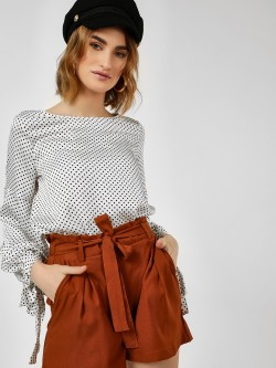 Cover Story Polka Dot Balloon Sleeve Blouse