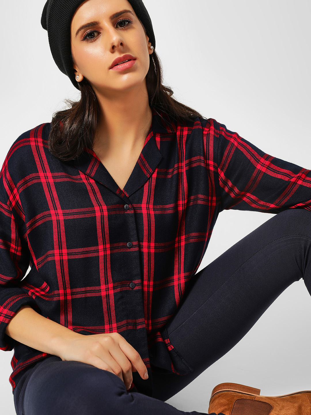 Cover Story Blue Casual Check Print Shirt 1