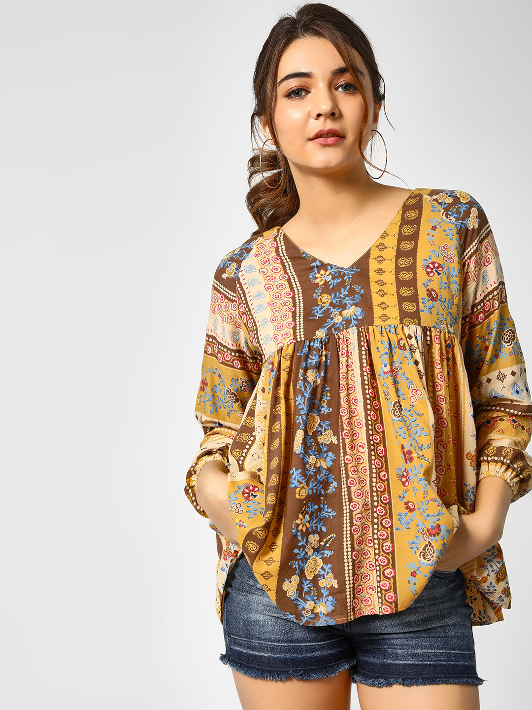 Cover Story Print Floral Print V-Neck Blouse 1