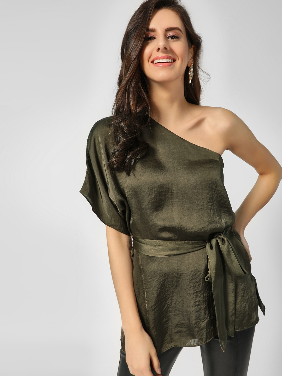 Cover Story Dark Green One Shoulder Front Tie Up Blouse 1