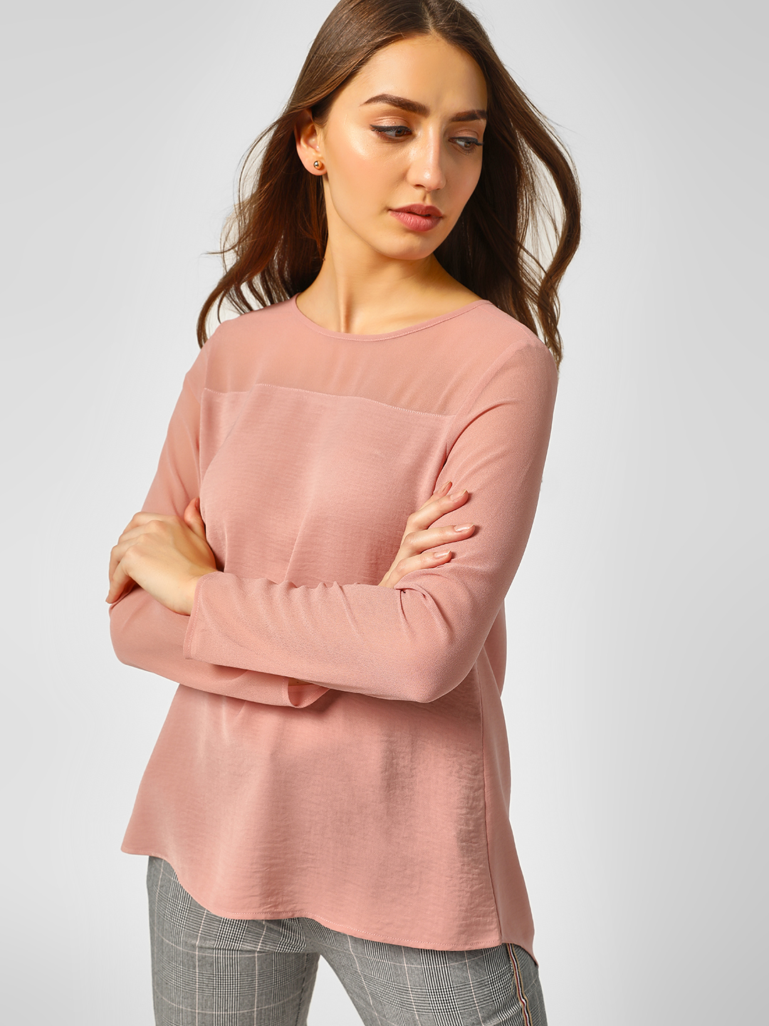 Cover Story Pink Basic Long Sleeve Blouse 1