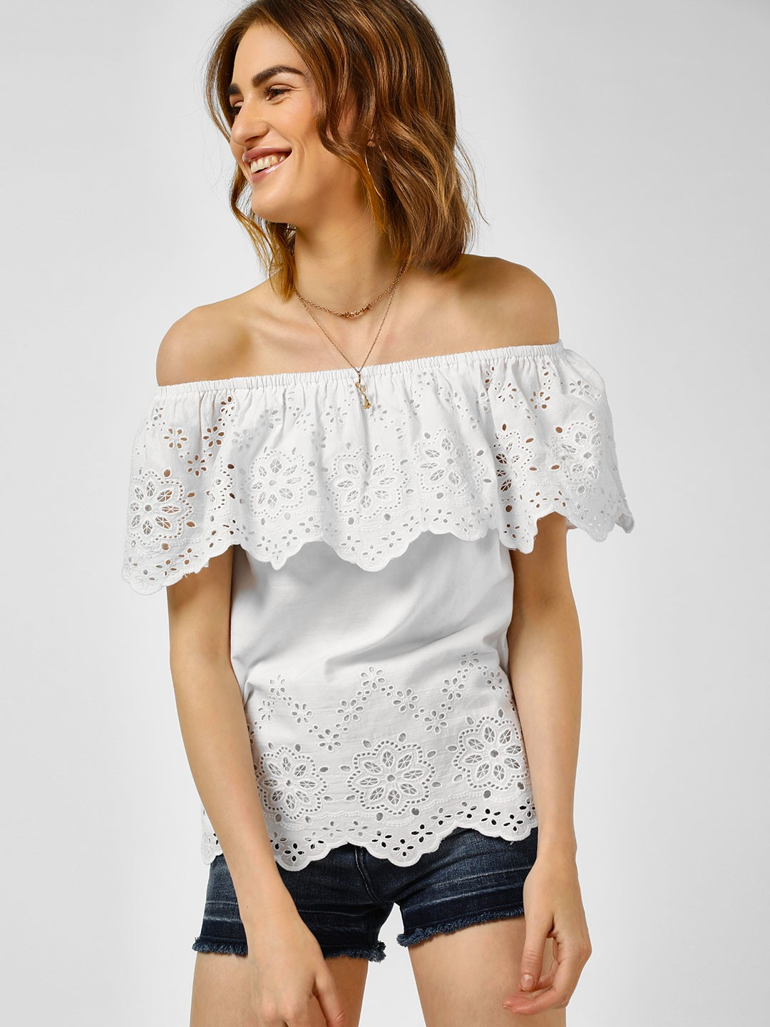 Cover Story Off White Casual Bandeau Top 1