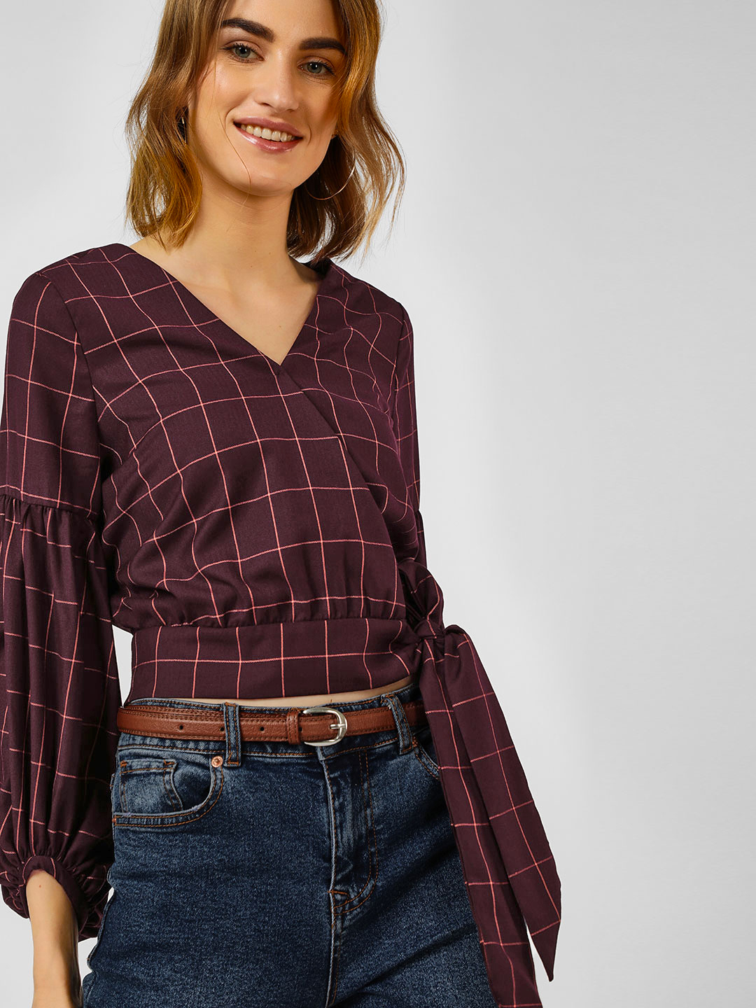 Cover Story Maroon Check Print Crop Top 1