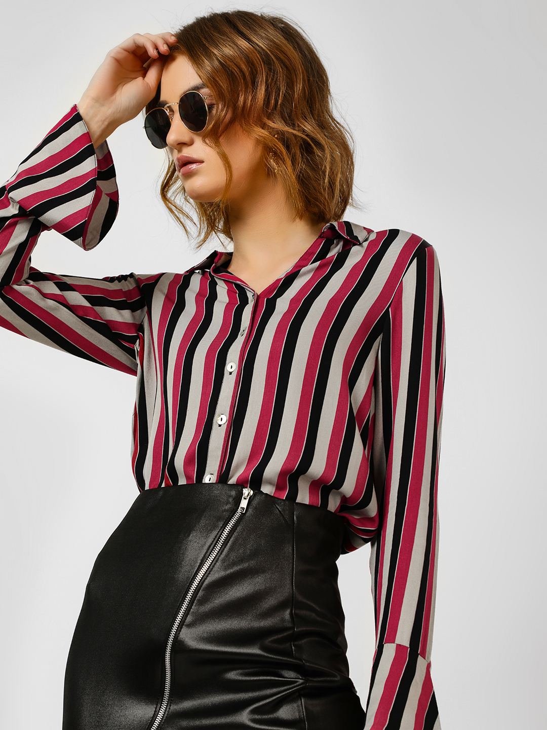 Cover Story Wine Striped Bell Sleeve Shirt 1