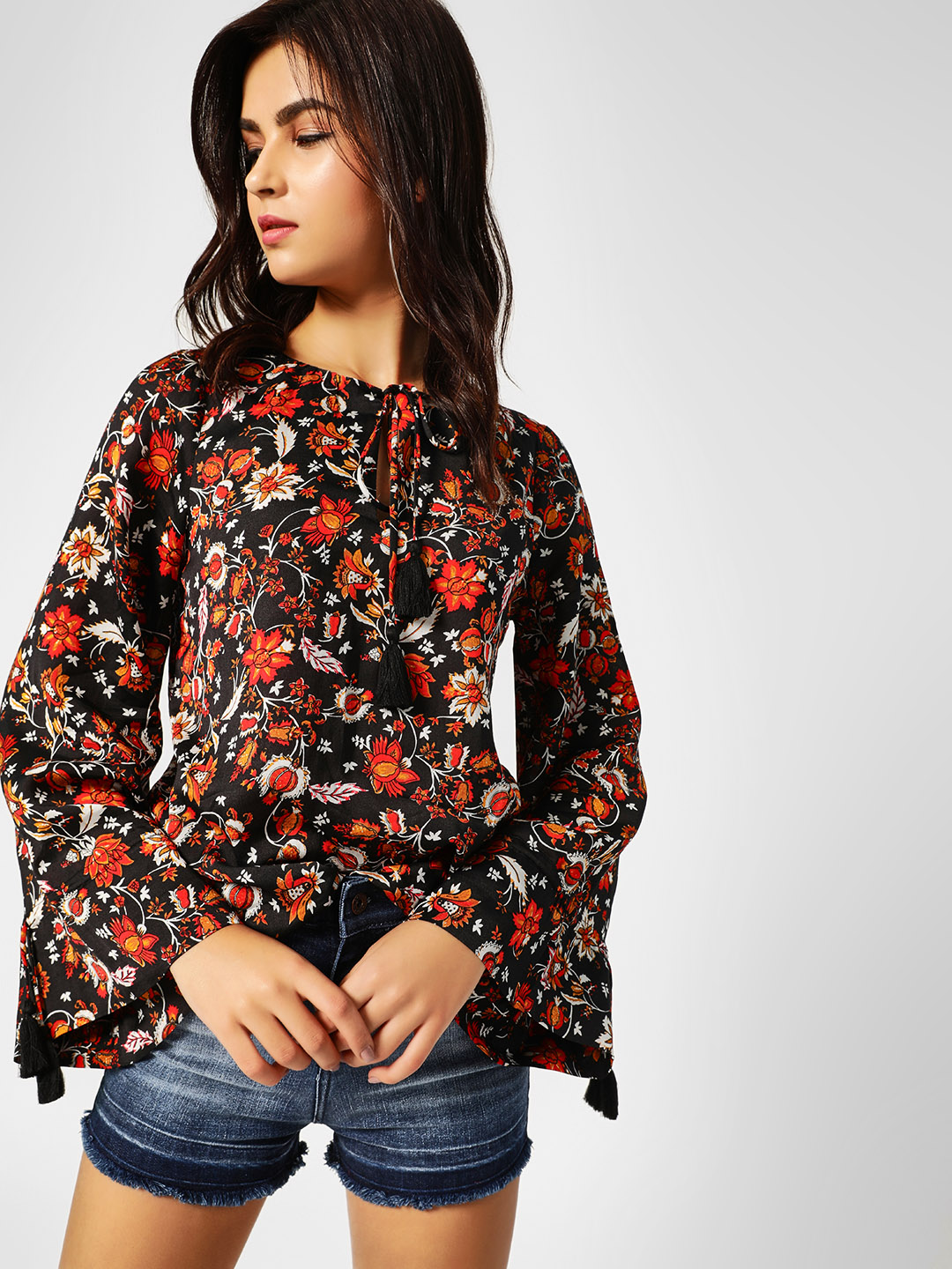 Cover Story Print Floral Print Front Tie Up Top 1