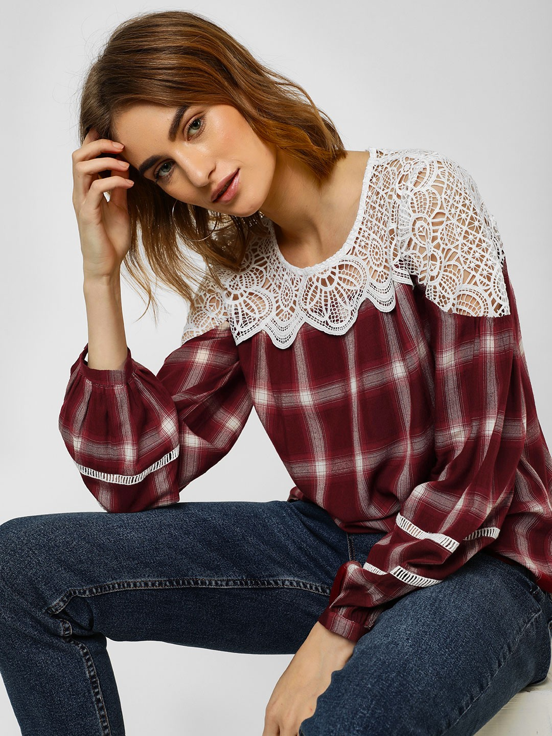Cover Story Red Check Top With Lace Detail 1