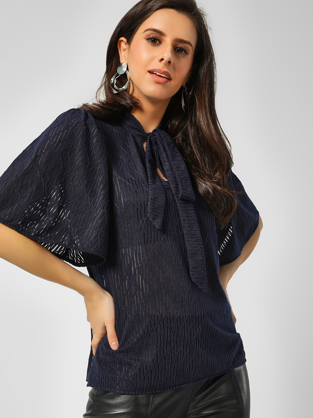 Cover Story Navy Self-Design Tie Knot Blouse 1