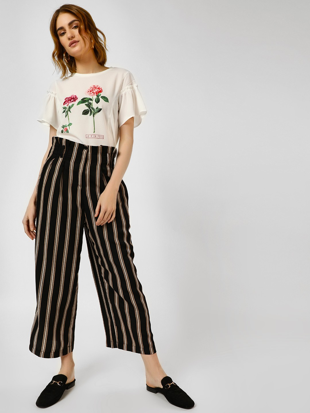 Cover Story Black Paperbag Striped Wide Leg Trousers 1
