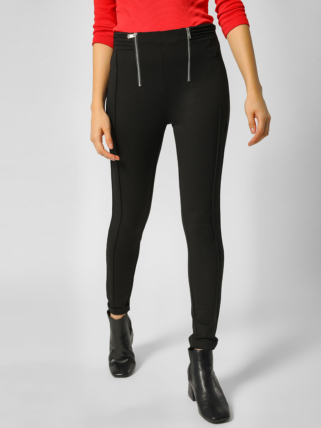 Cover Story Black Front Zipper Detail Treggings 1