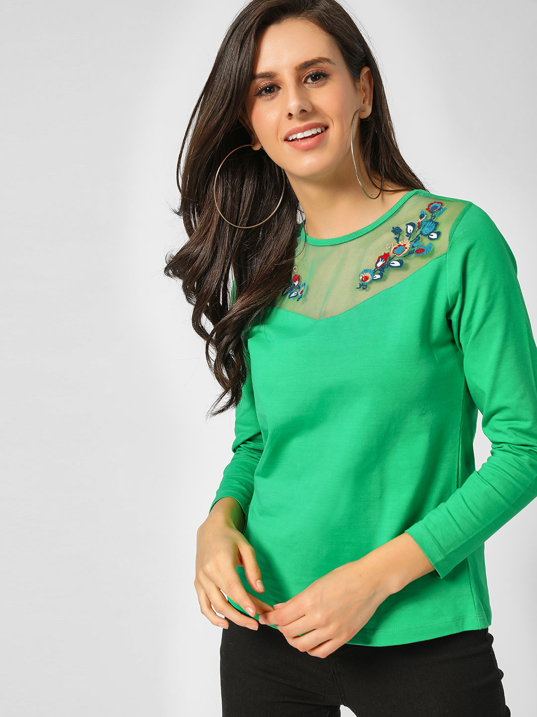 Cover Story Green Floral Embroidered Mesh Blouse 1