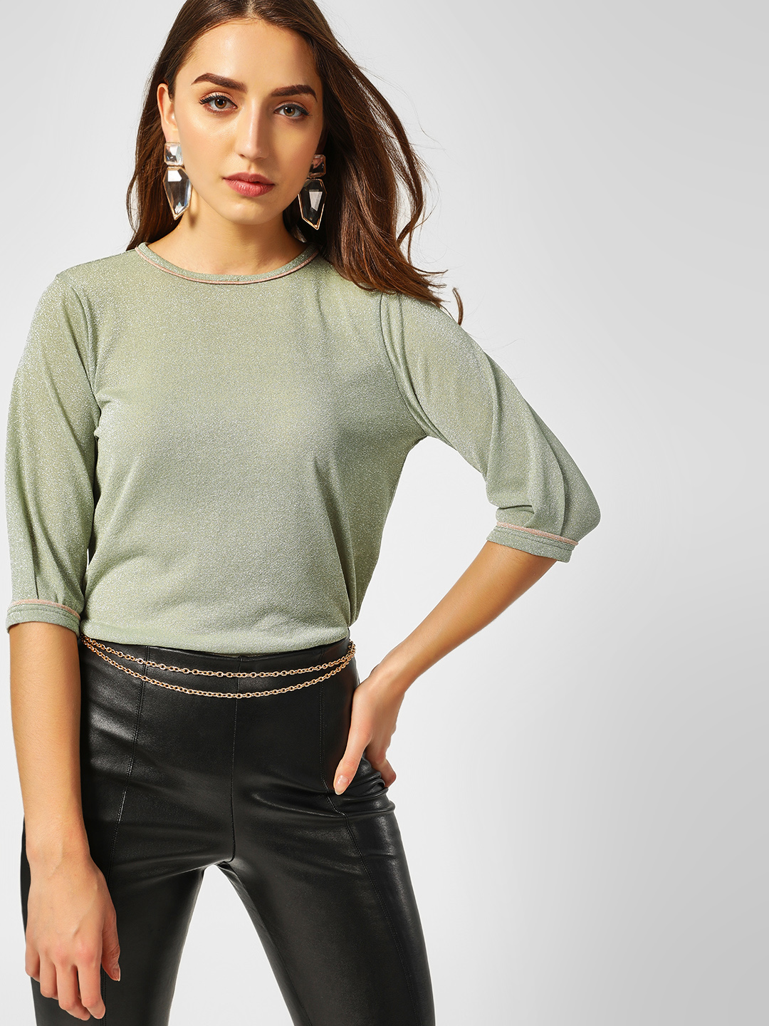 Cover Story Green Contrast Piping Shimmer Top 1