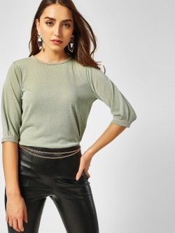 Cover Story Contrast Piping Shimmer Top