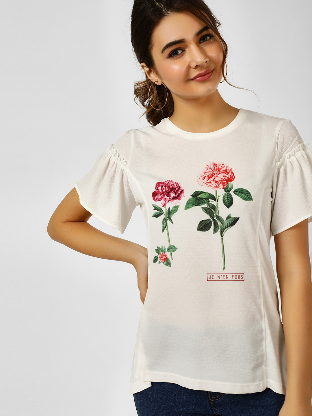 Cover Story White Floral Print T-Shirt 1