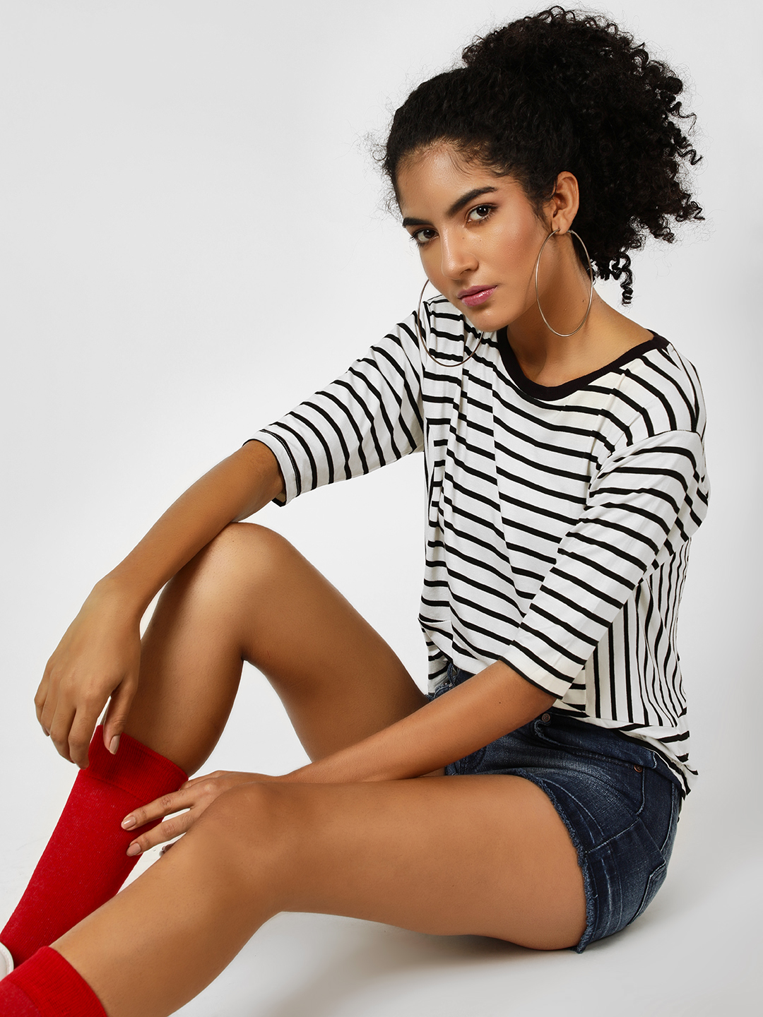 Cover Story STRIPE Striped Ribbed Neck T-Shirt 1