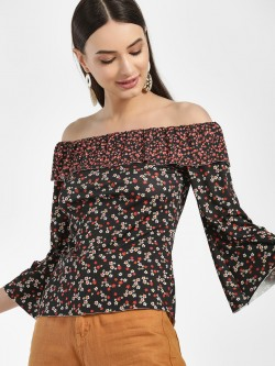 Cover Story Floral Print Off-Shoulder Blouse