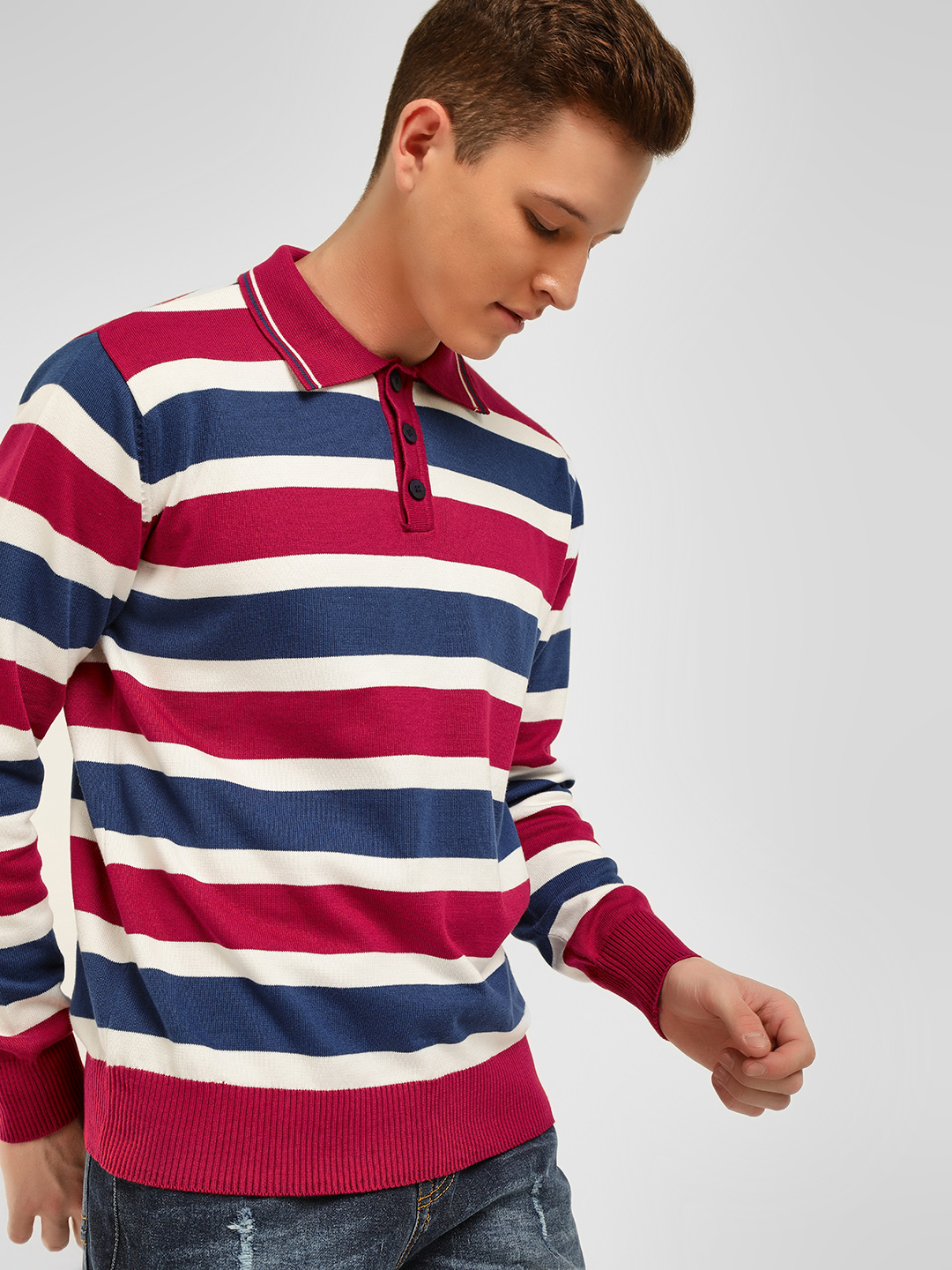Akiva Multi Horizontal Stripe Ribbed Polo Shirt 1