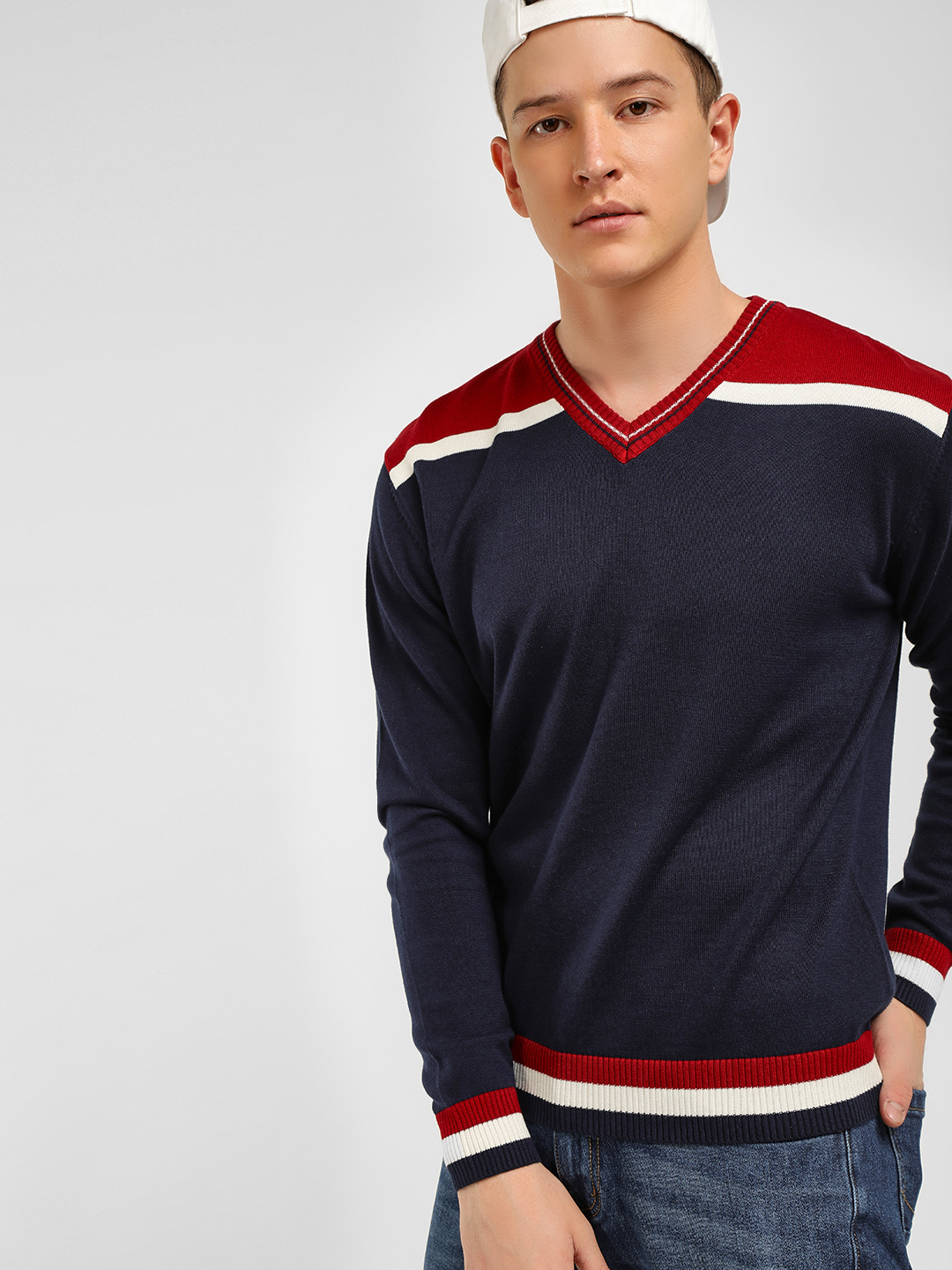 Akiva Blue Colour Block Panel Varsity Pullover 1