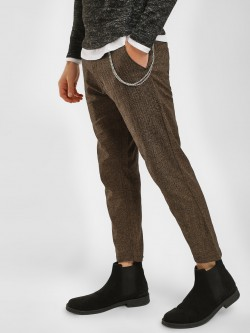 KOOVS Micro Check Cropped Chinos