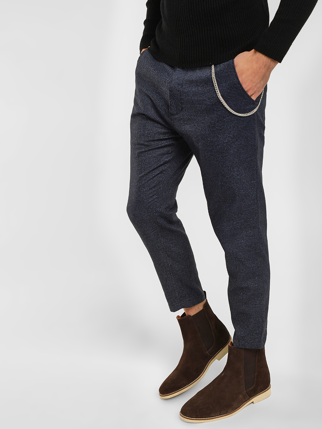 KOOVS Blue Tartan Check Tapered Chinos 1