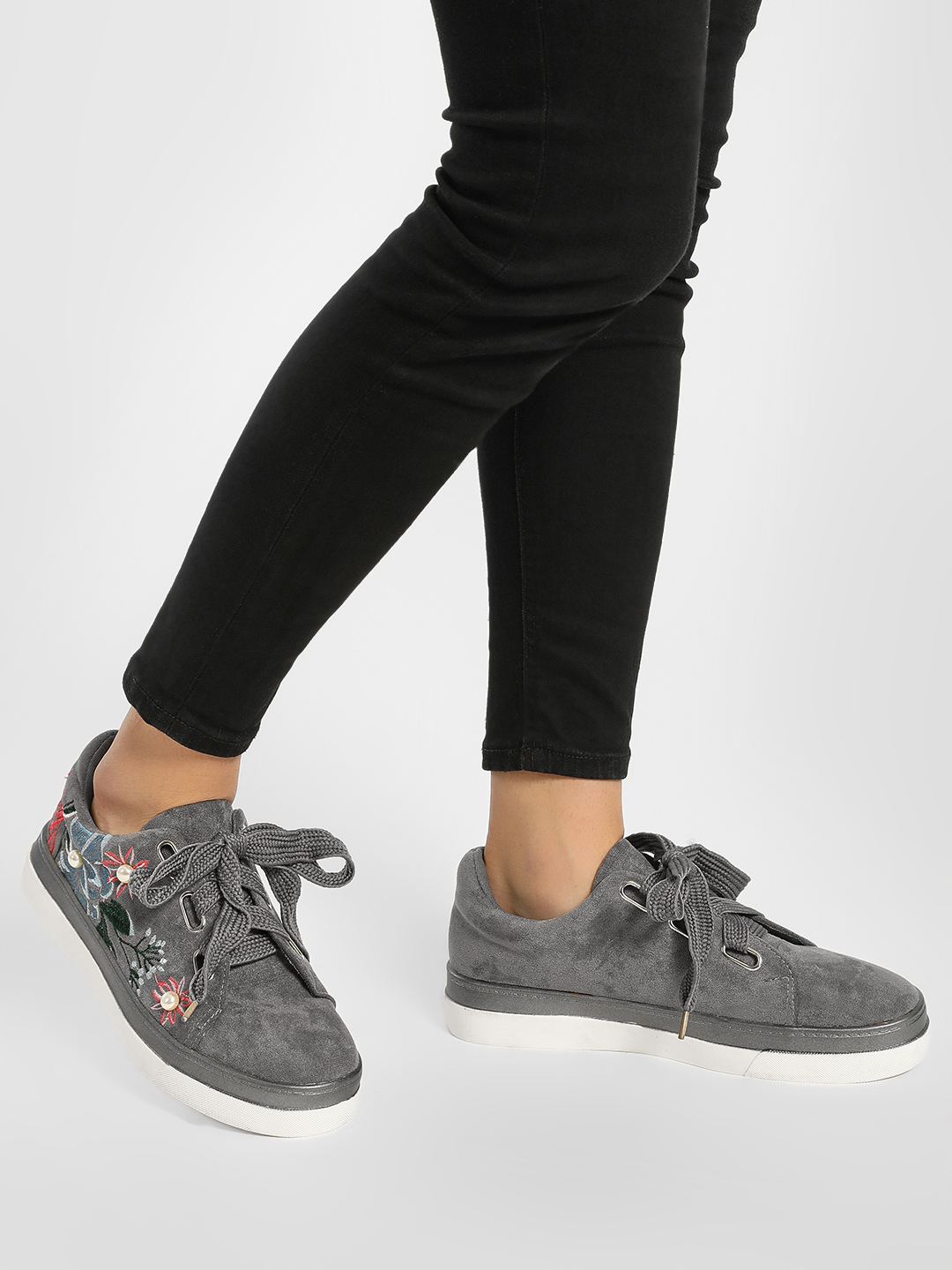 My Foot Couture Grey Pearl Embellished Applique Flower Detail Trainers 1