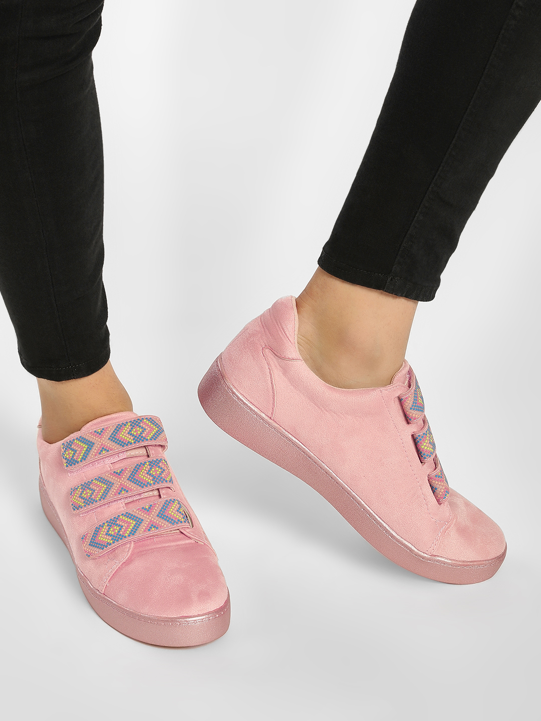 My Foot Couture Pink Embroidered Strap Glossy Finish Trainers 1