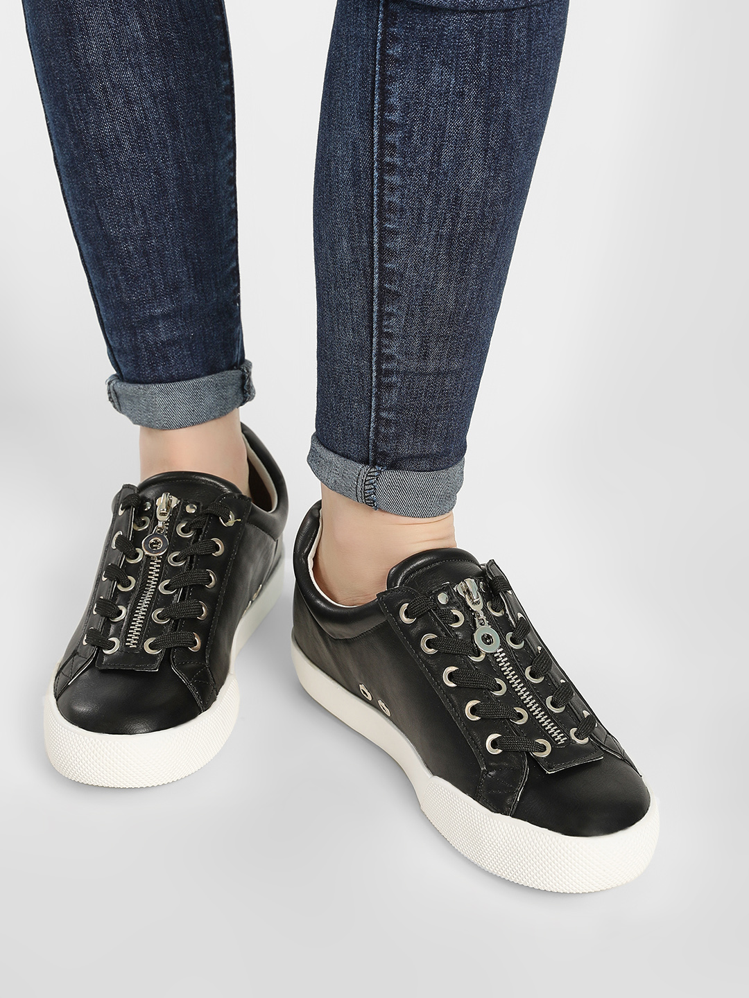My Foot Couture Black Two Way Lace Up Trainers 1