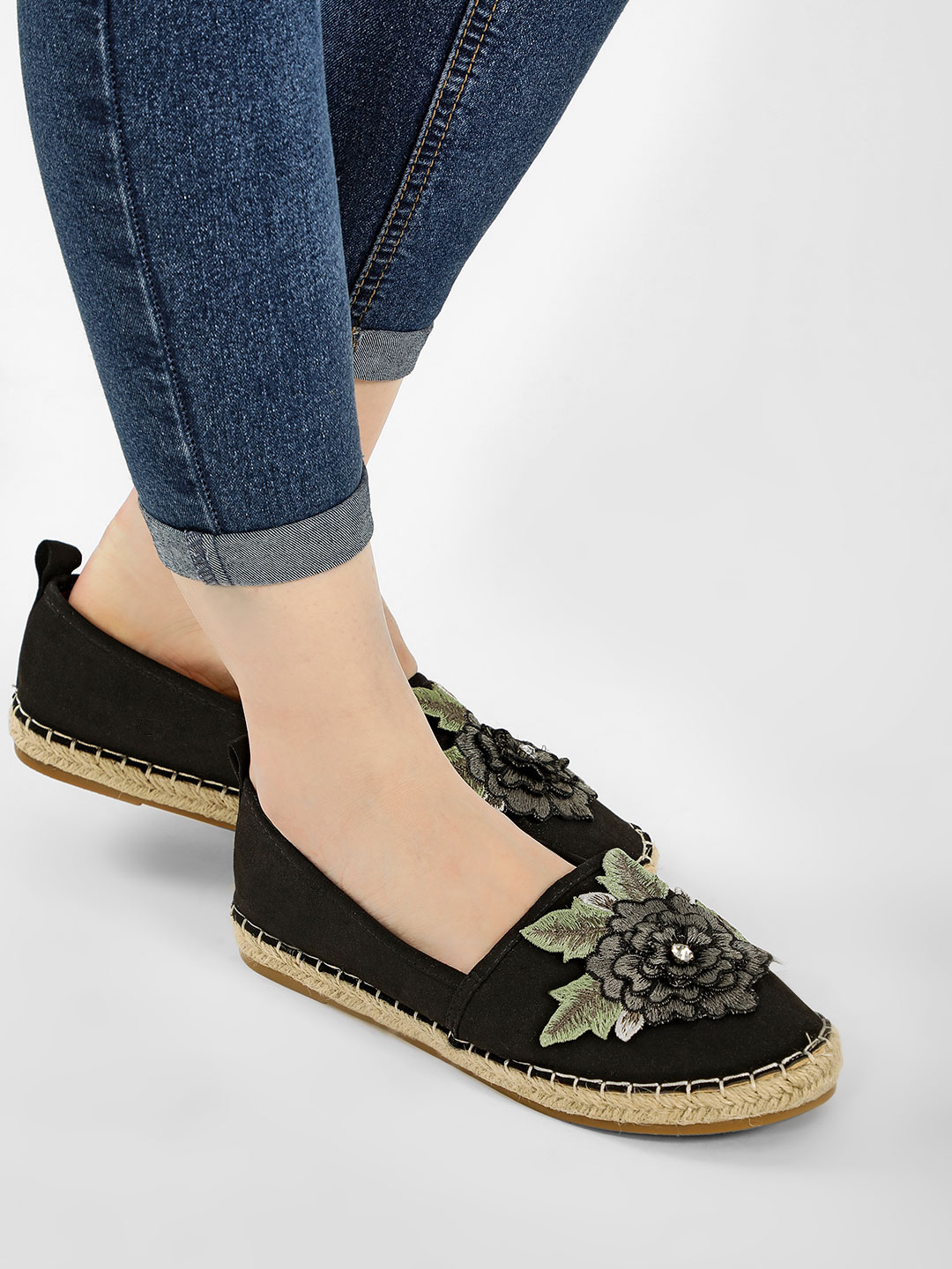 My Foot Couture Black Glossy Applique Flower Espadrilles 1