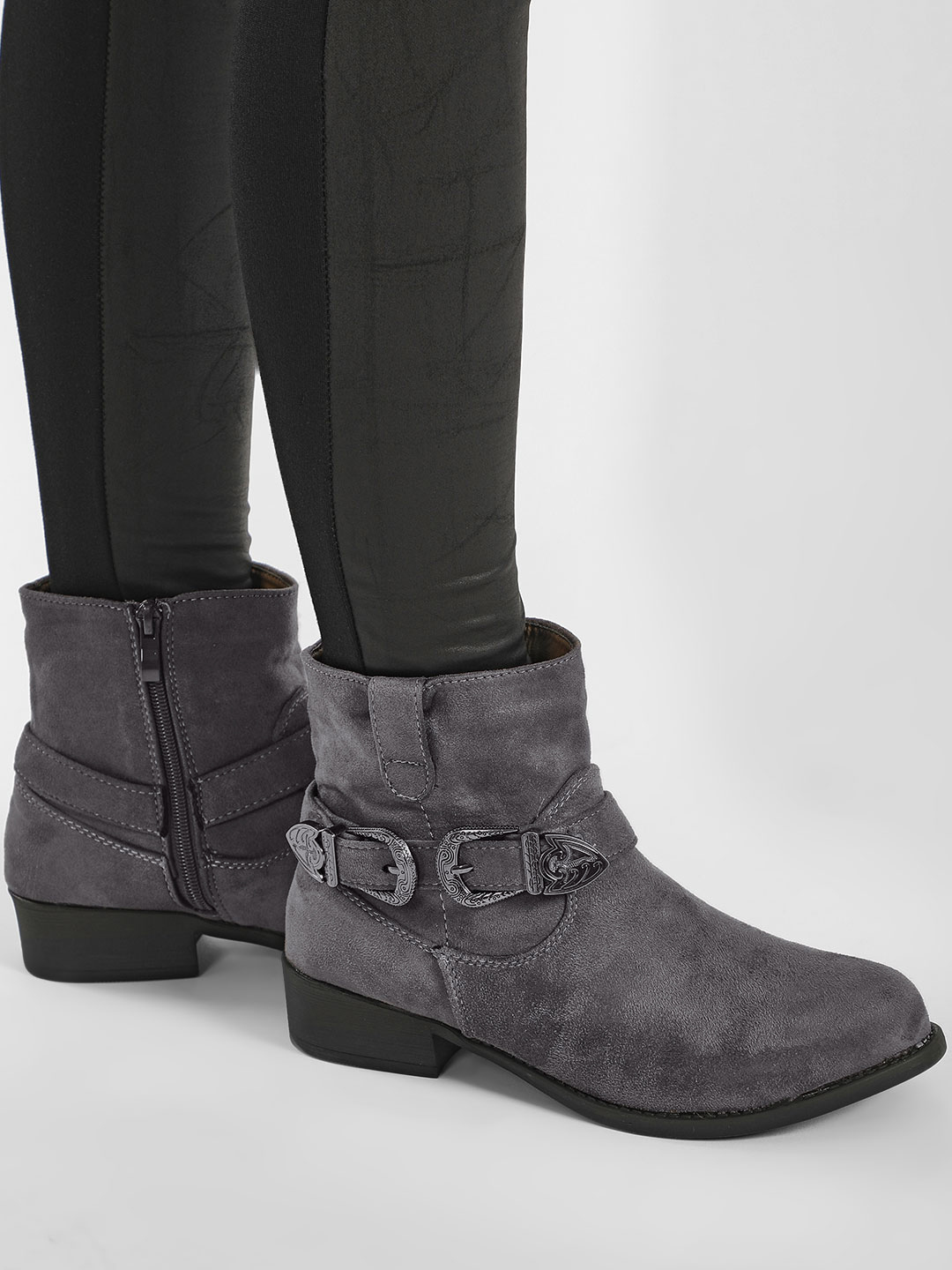 My Foot Couture Grey Vintage Buckle Detail Ankle Boots 1