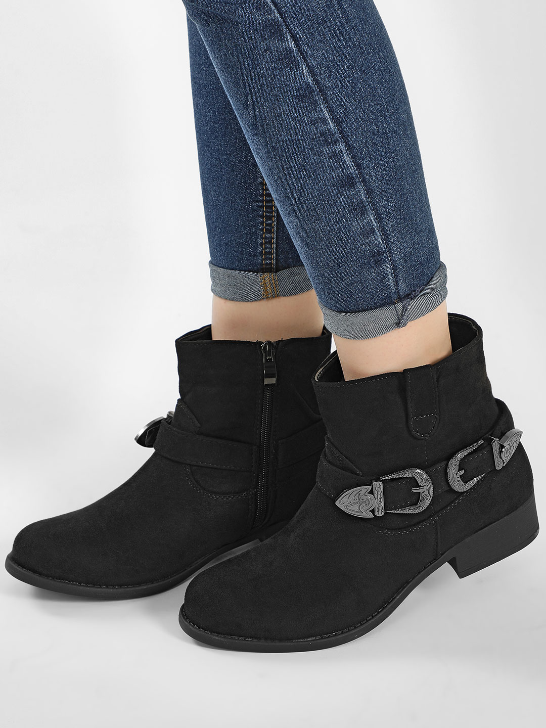My Foot Couture Black Vintage Buckle Detail Ankle Boots 1