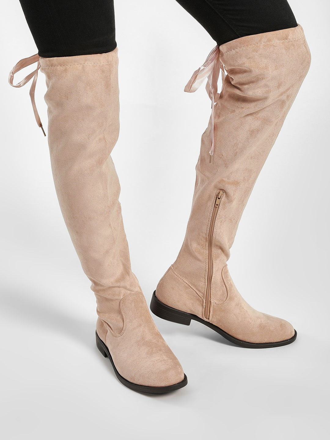 My Foot Couture Beige Suede Finish Knee High Boots 1