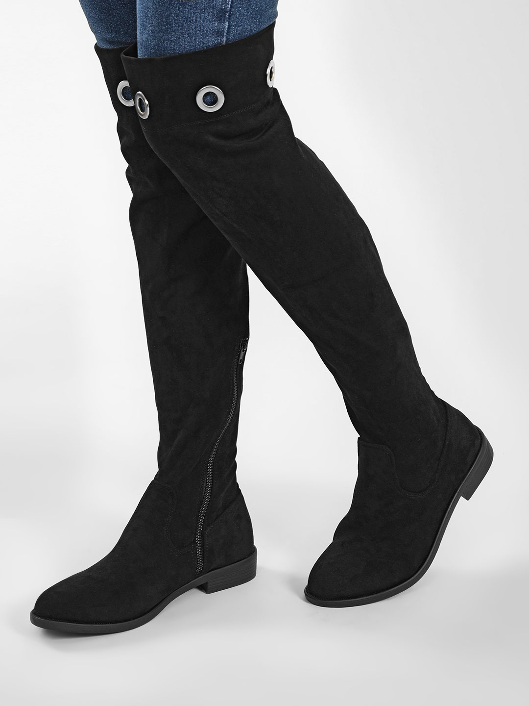 My Foot Couture Black Eyelet Detail Riding Boots 1