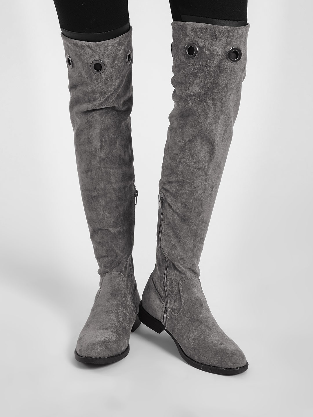 My Foot Couture Grey Eyelet Detail Riding Boots 1