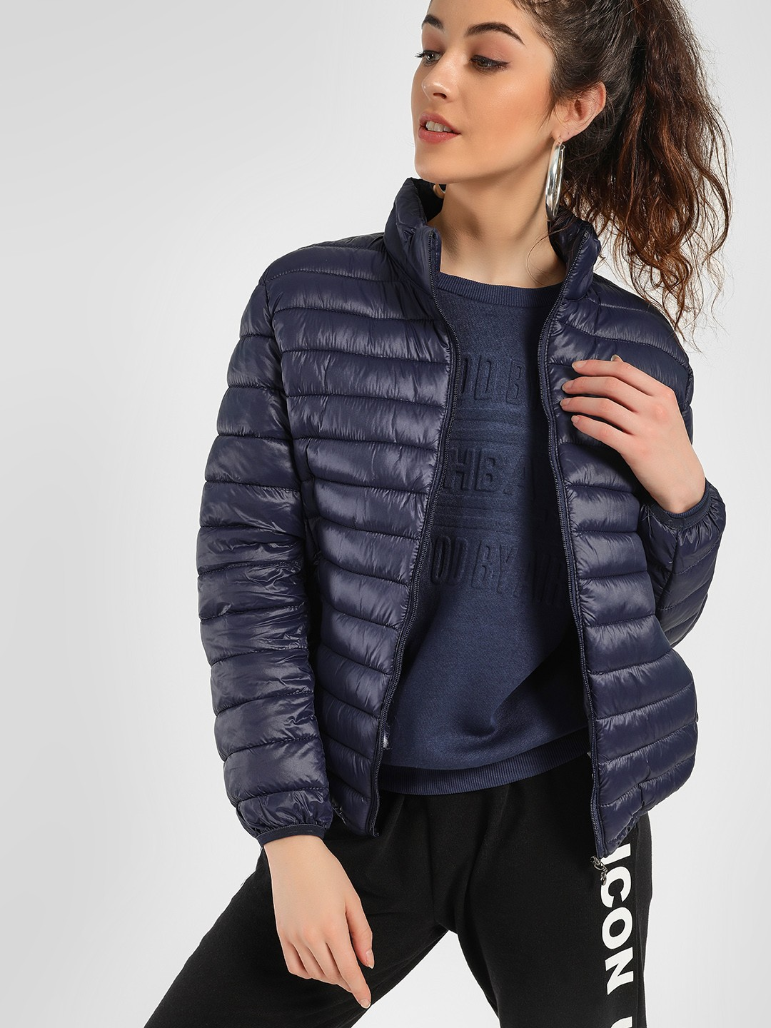 KOOVS Navy Lightweight Puffer Jacket 1