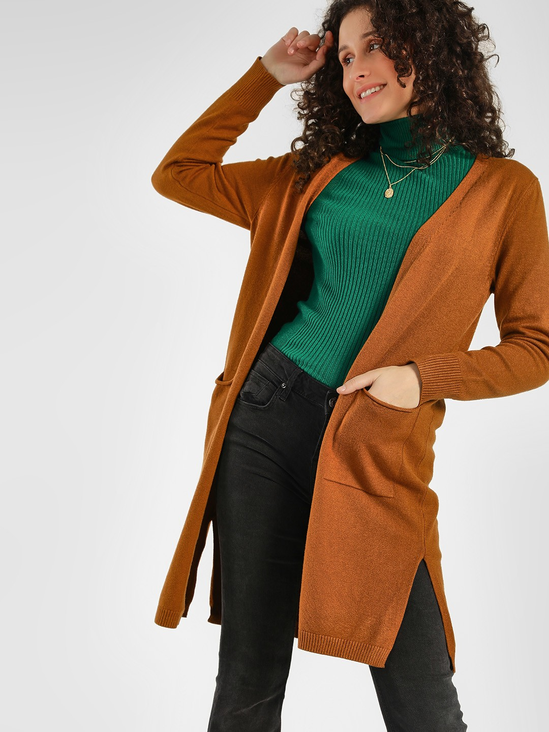 KOOVS Brown Front Open Knitted Shrug 1