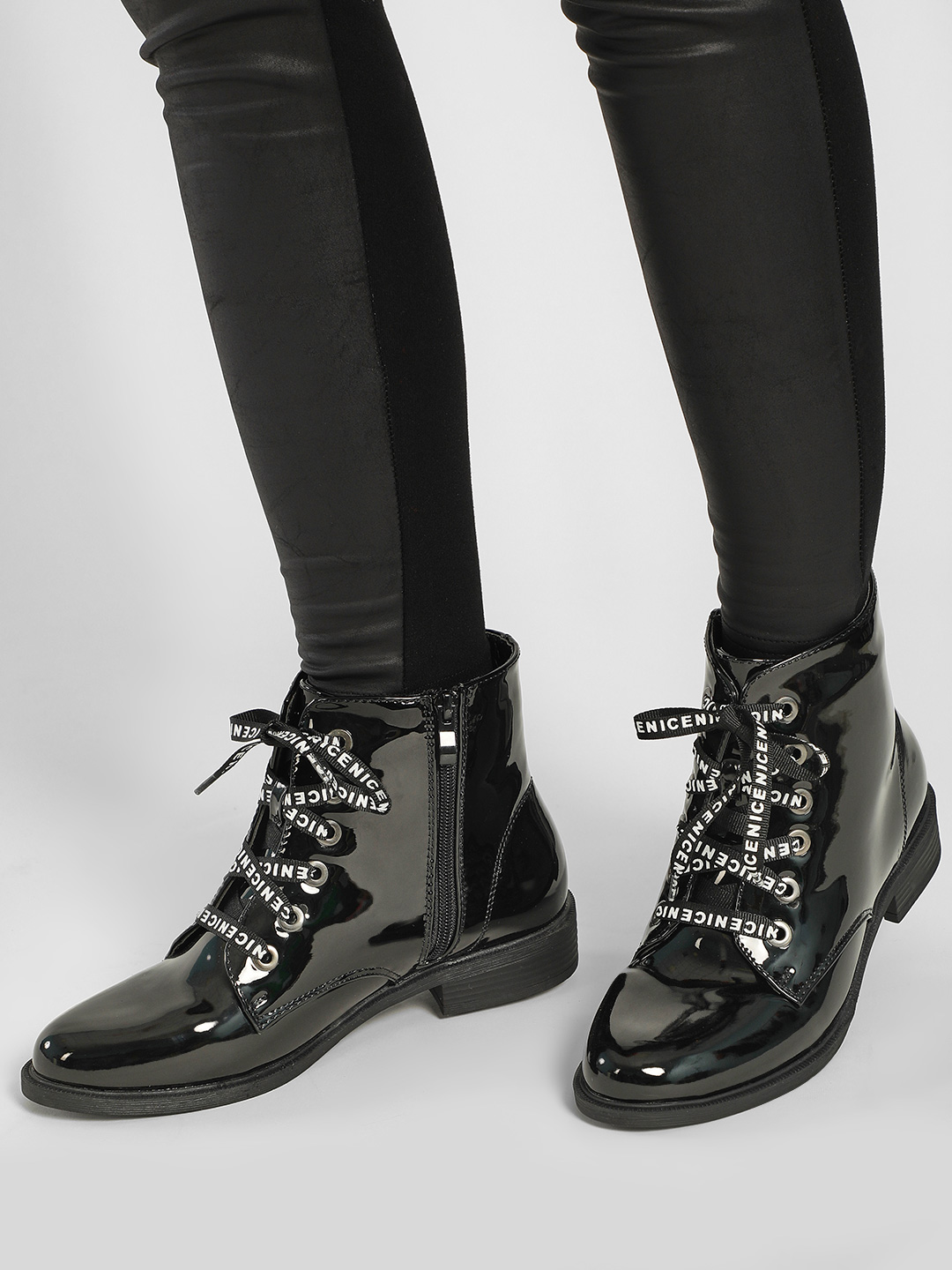Sole Story Black Slogan Lace-Up Patent Boots 1