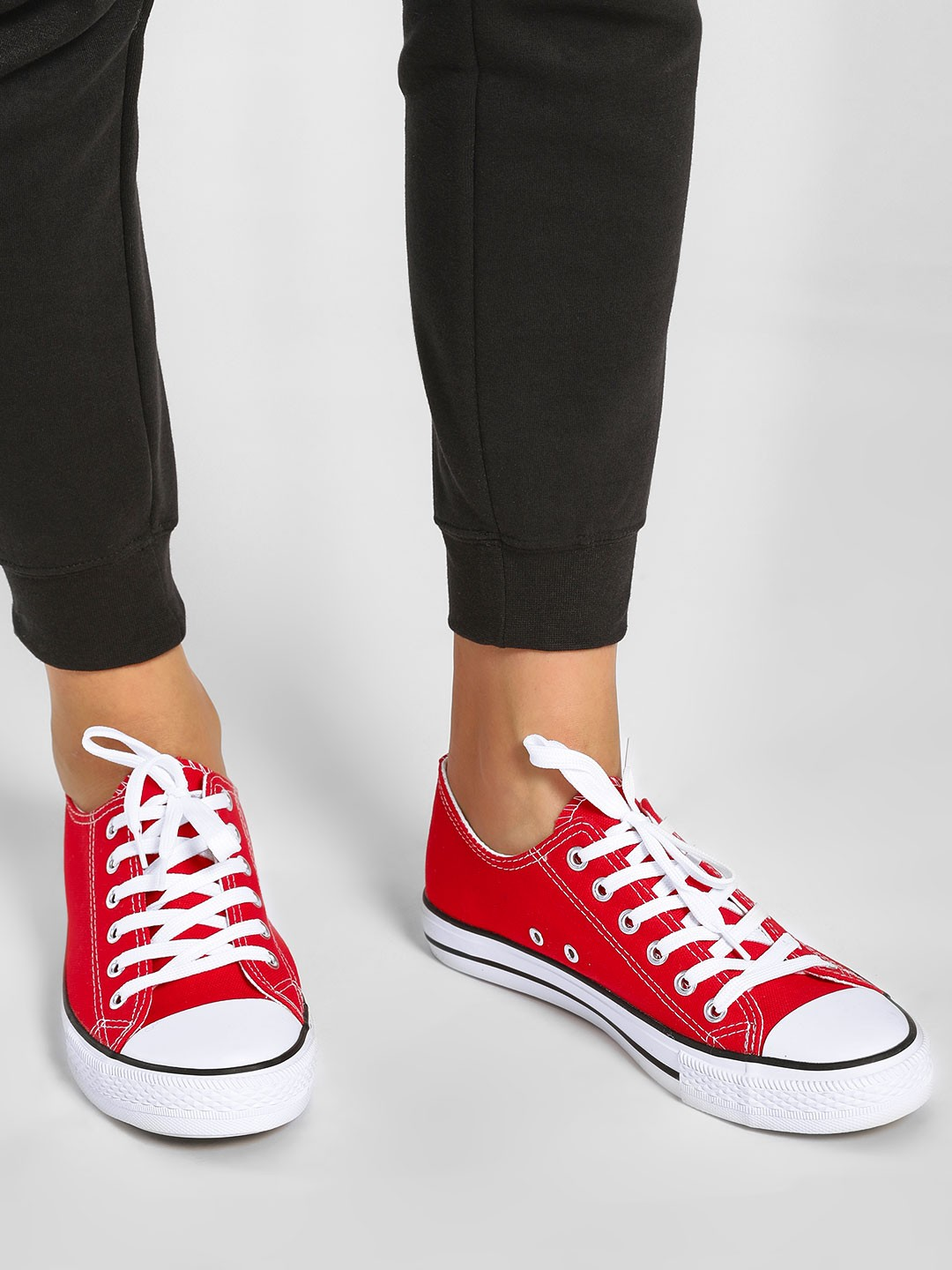 Happy Feet Red Casual Lace Up Sneakers 1