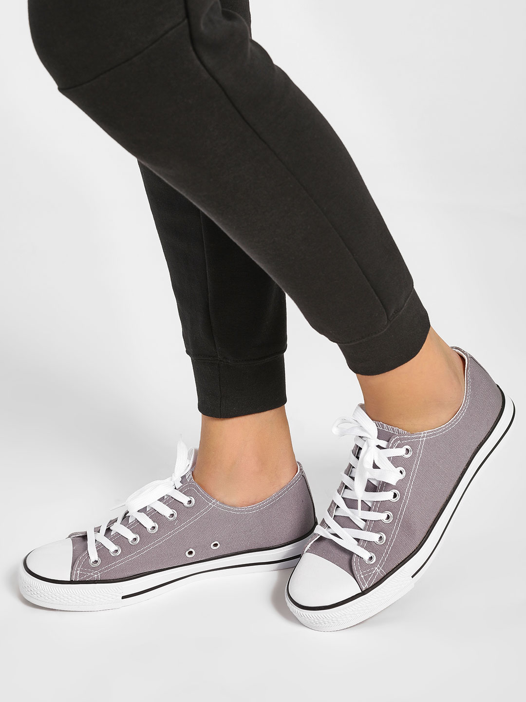 Happy Feet Grey Casual Lace Up Sneakers 1