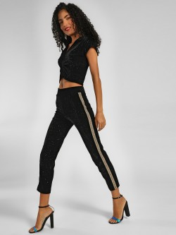 KOOVS Contrast Tape Velvet Leggings