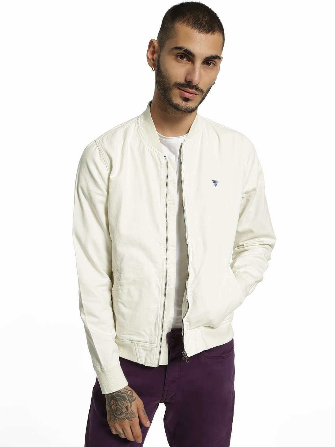 Blue Saint White Overdyed Long Sleeve Bomber Jacket 1