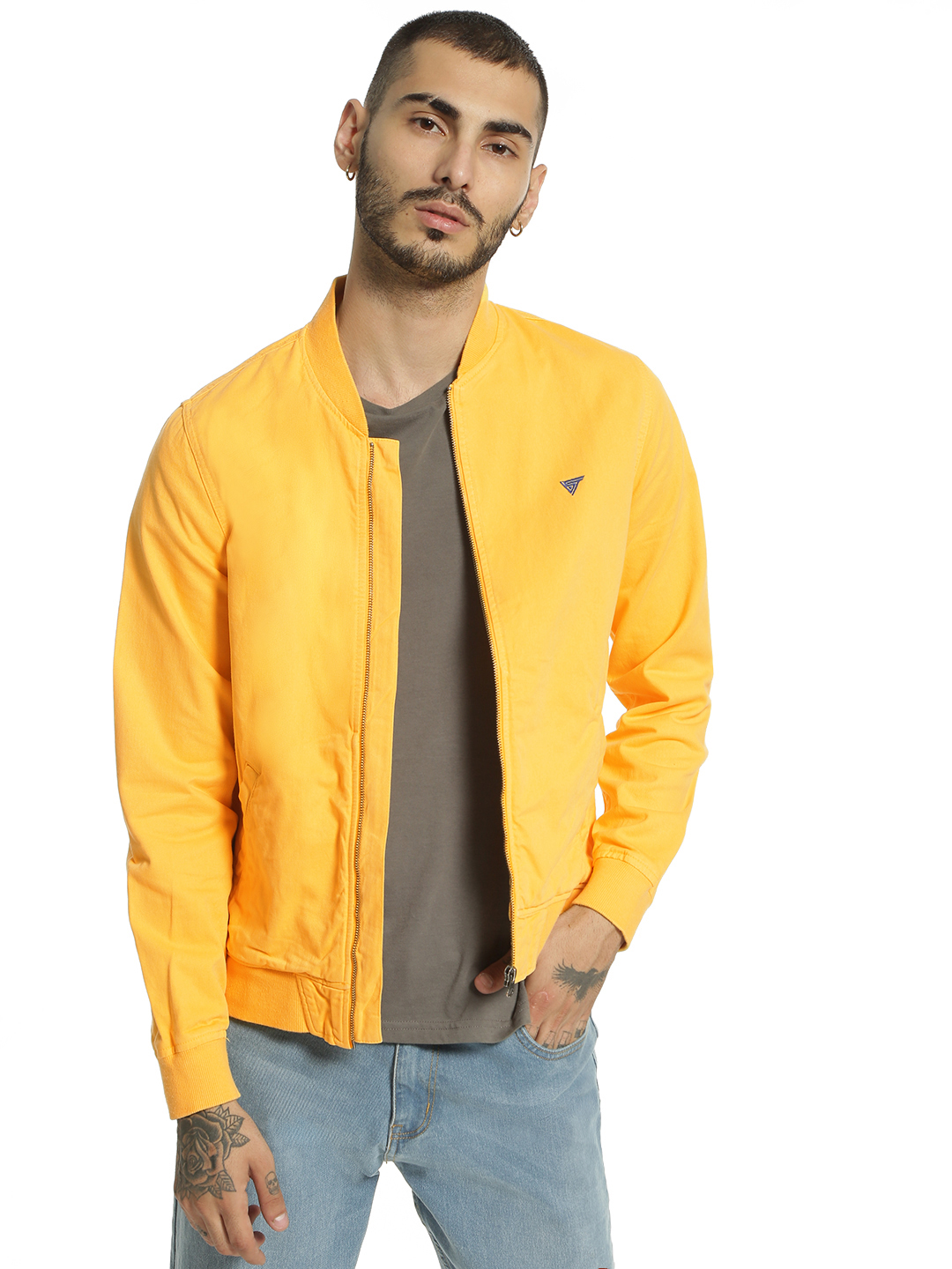 Blue Saint Yellow Overdyed Long Sleeve Bomber Jacket 1