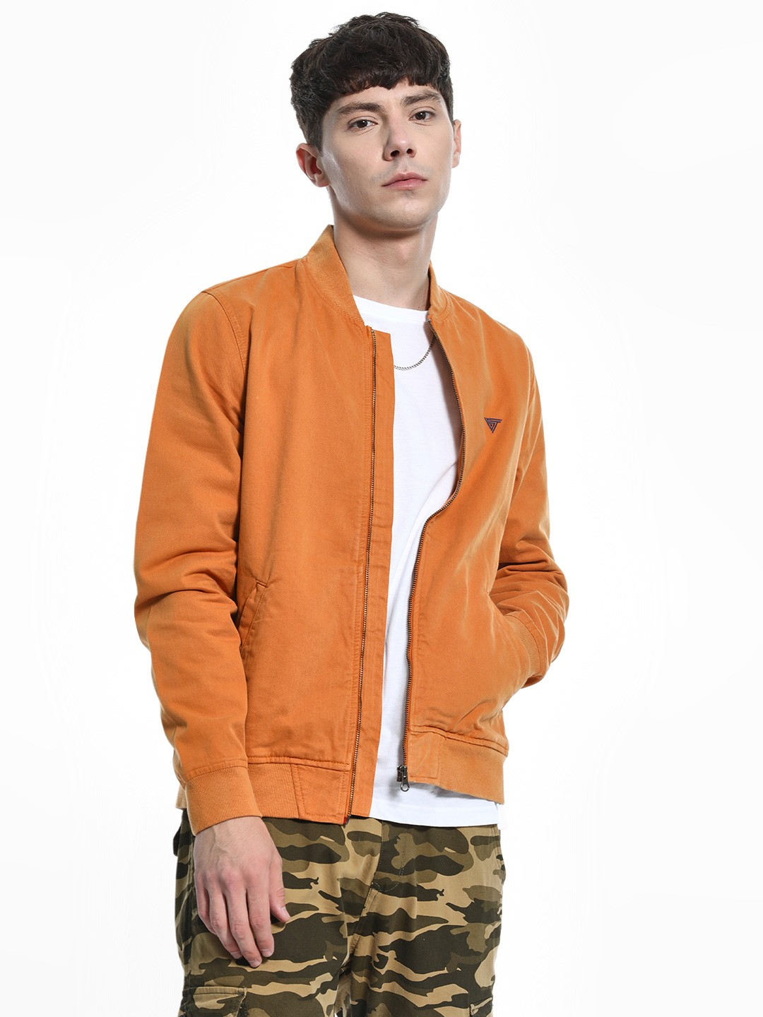 Blue Saint Orange Overdyed Bomber Jacket 1