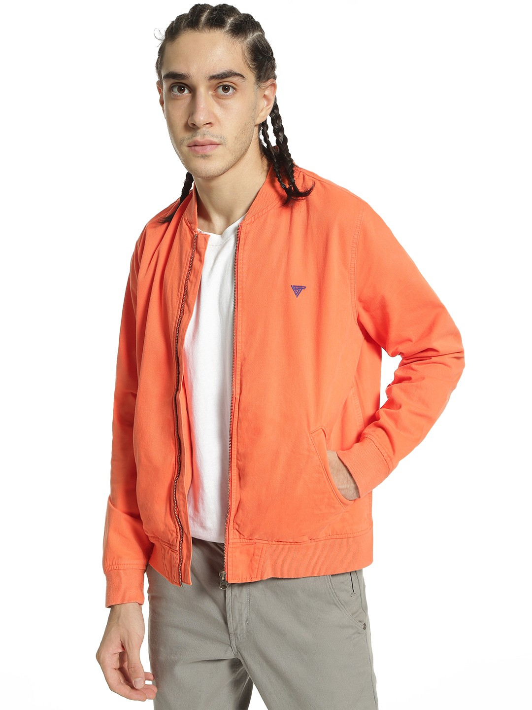 Blue Saint Orange Overdyed Long Sleeve Bomber Jacket 1