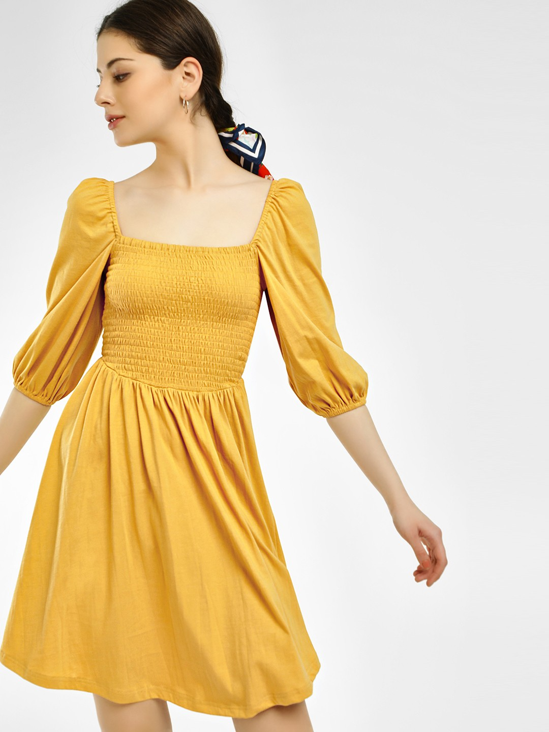 KOOVS Yellow Smocked Yoke Skater Dress 1