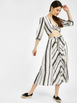 KOOVS Horn Button Striped Midi Skirt