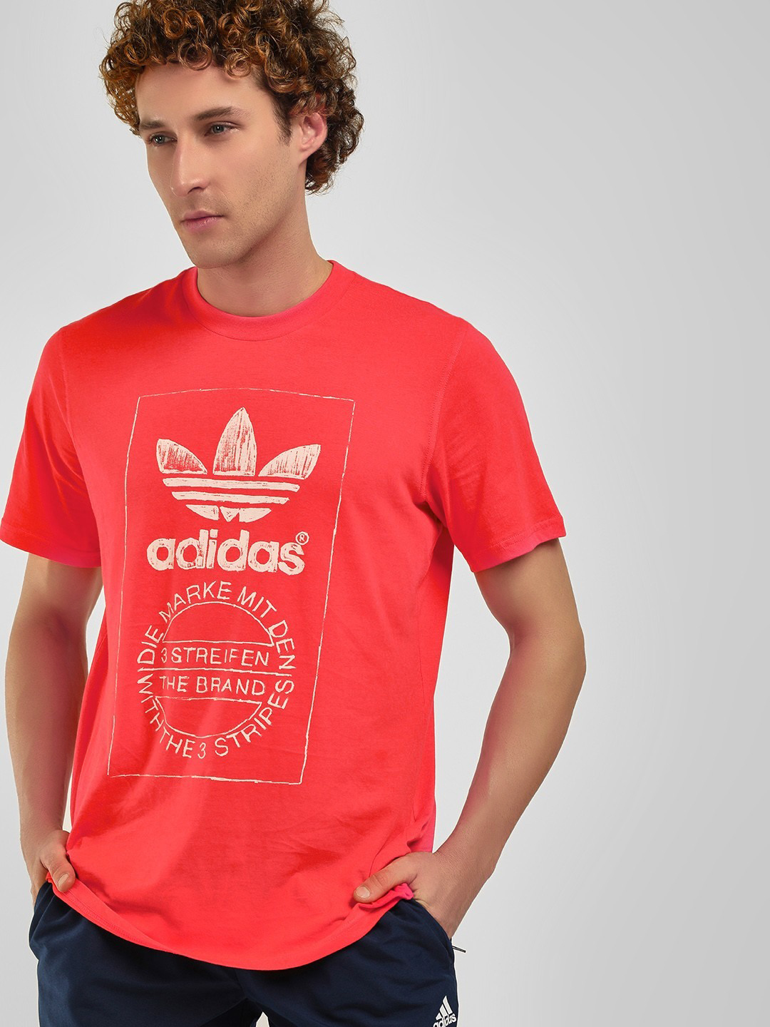 Adidas Originals Red Hand Drawn T-Shirt 1