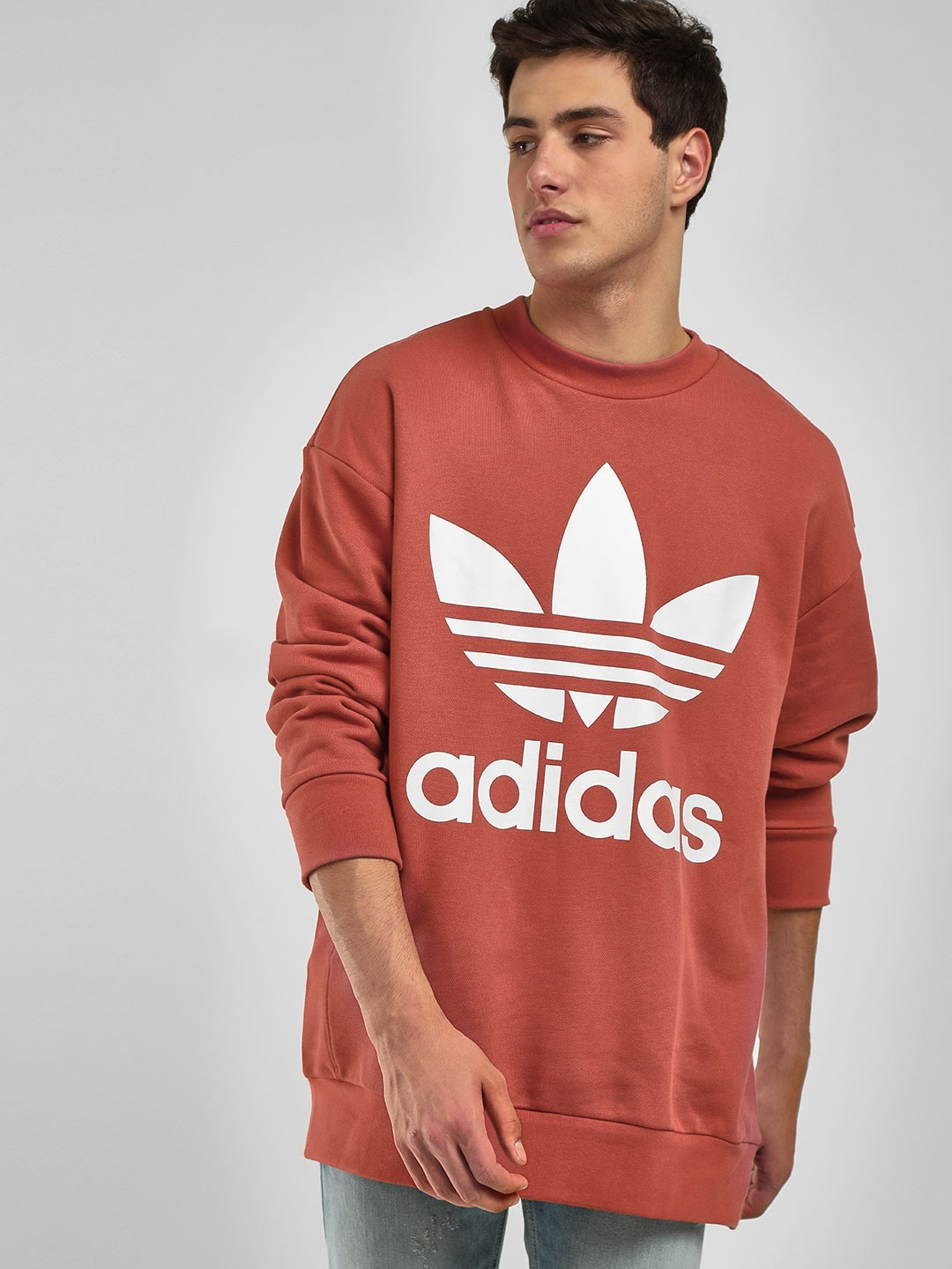 Adidas Originals Orange Oversize Trefoil Sweatshirt 1