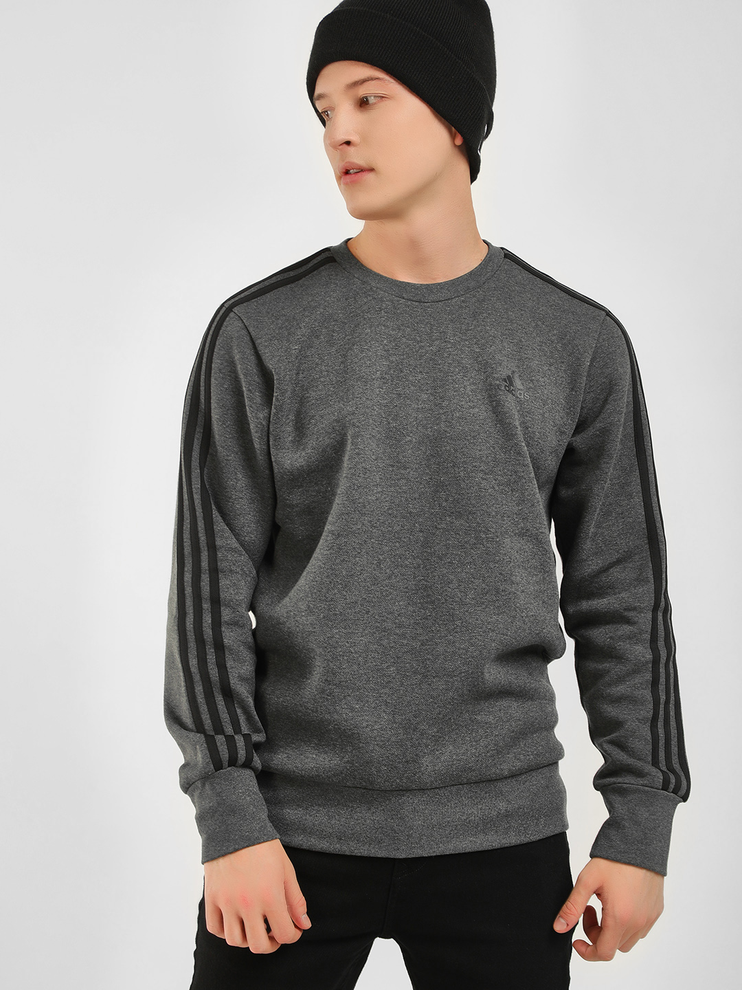 Adidas Grey Ess 3 Stripe Sweatshirt 1